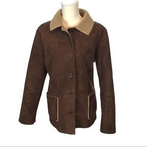Boden Suede Faux Shearling Lined Button Down Coat